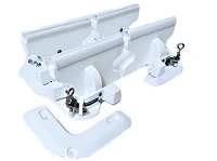 Standard dinghy tender chock davit system to store dinghies and PWCs on decks and swim platforms