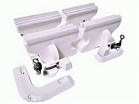 Heavy duty dinghy tender chock davit system to store dinghies and PWCs on decks and swim platforms