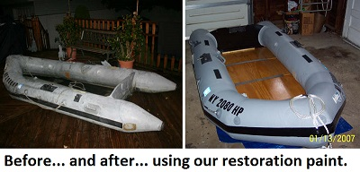 Inflatable boat repair paint for PVC and hypalon fabric