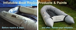 Inflatable boat repair paint and supplies