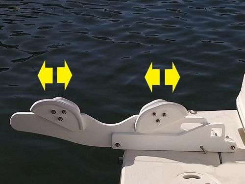 Tilting pull-on davit system for rigid hull RIB bottom inflatable boats