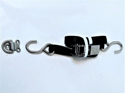Single tie down strap for dinghies in davits