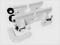 Dinghy tender chock davit system with easily launch wheels to store dinghies and PWCs on decks and swim platforms