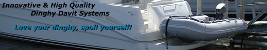Boat davit, inflatable boat davits, boat chocks, davit systems, dinghy hoists and dinghy davits for inflatable boats and dinghies on yachts.